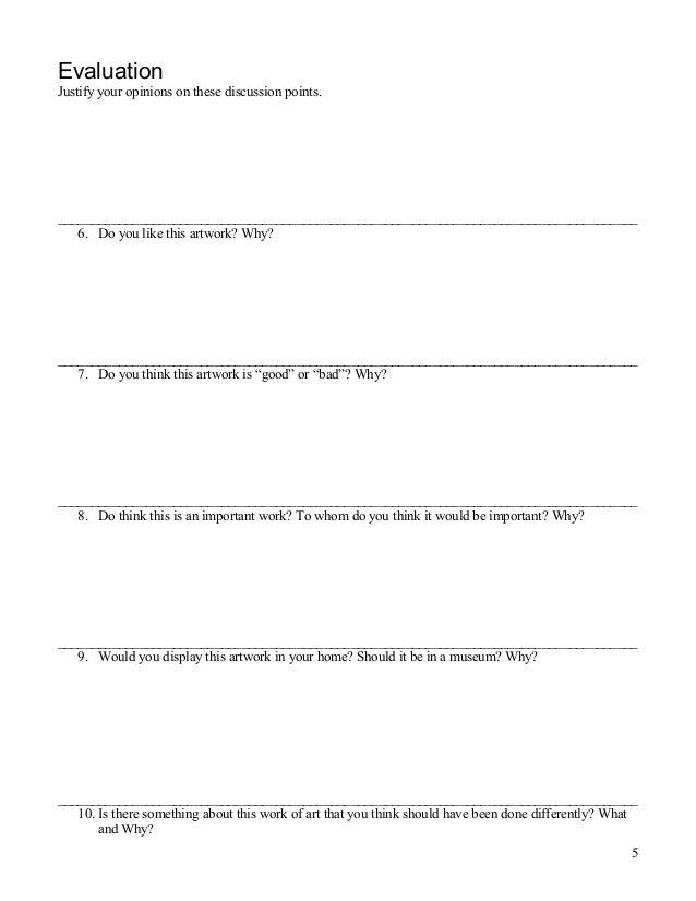 Artwork analysis worksheet – Document Analysis Worksheet