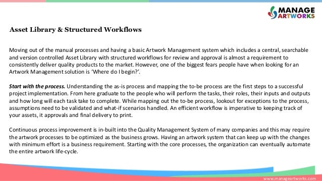 www.manageartworks.com Asset Library & Structured Workflows Moving out of the manual processes and having a basic Artwork ...