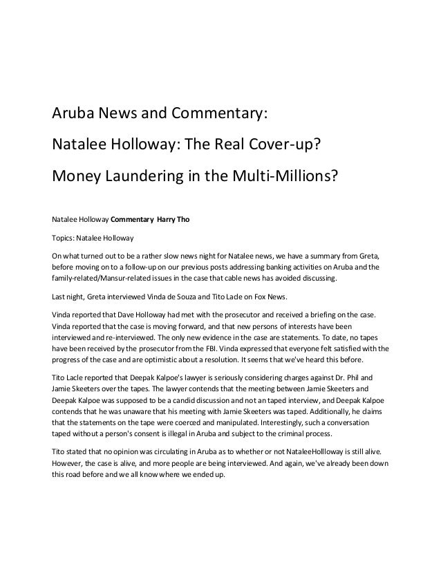 Aruba News and Commentary:Natalee Holloway: The Real Cover-up?Money Laundering in the Multi-Millions?Natalee Holloway Comm...