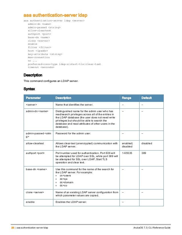 Aruba OS 7 3 Command Line Interface Reference Guide