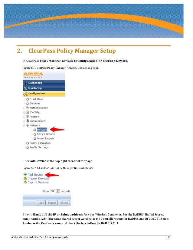 Aruba wireless and clear pass 6 integration guide v1 3