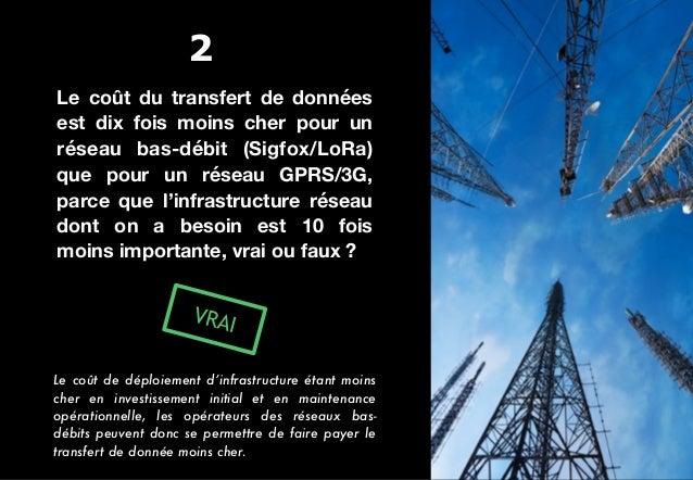 Le coût du transfert de données est dix fois moins cher pour un réseau bas-débit (Sigfox/LoRa) que pour un réseau GPRS/3G,...