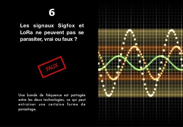 Les signaux Sigfox et LoRa ne peuvent pas se parasiter, vrai ou faux ? FAUX Une bande de fréquence est partagée entre les ...