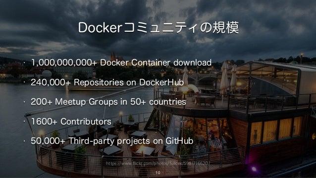 https://www.flickr.com/photos/fullcex/5981716620/ Dockerコミュニティの規模 10 • 1,000,000,000+ Docker Container download • 240,000+...