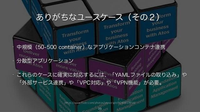 https://www.flickr.com/photos/atosorigin/9240927854/ ありがちなユースケース(その2) • 中規模(50-500 container)なアプリケーションコンテナ連携 • 分散型アプリケーション...