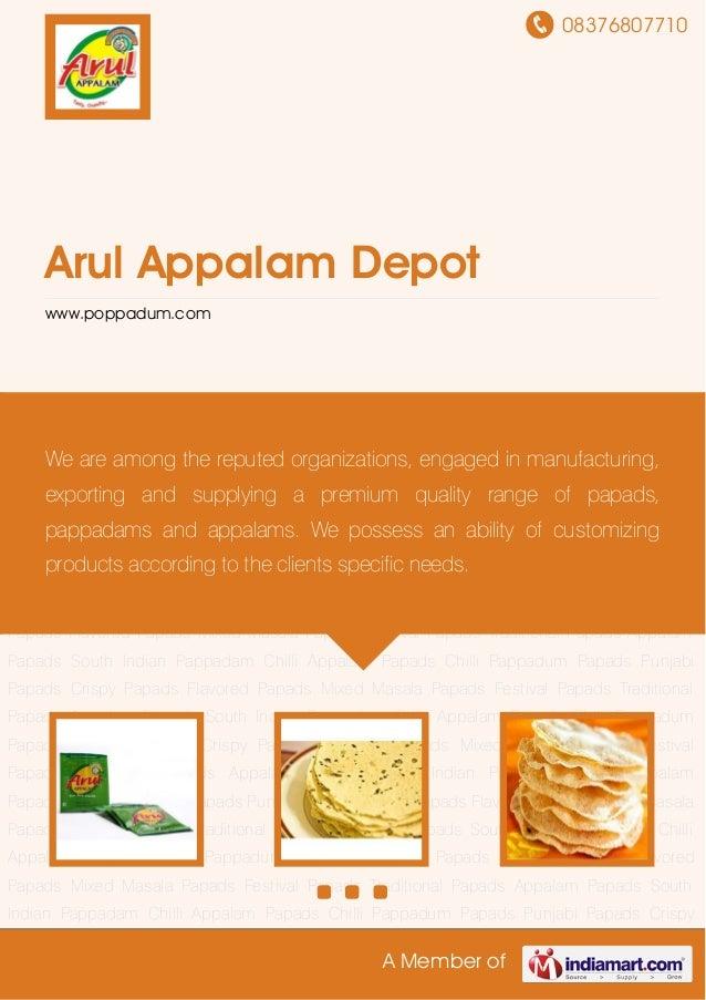 08376807710A Member ofArul Appalam Depotwww.poppadum.comAppalam Papads South Indian Pappadam Chilli Appalam Papads Chilli ...