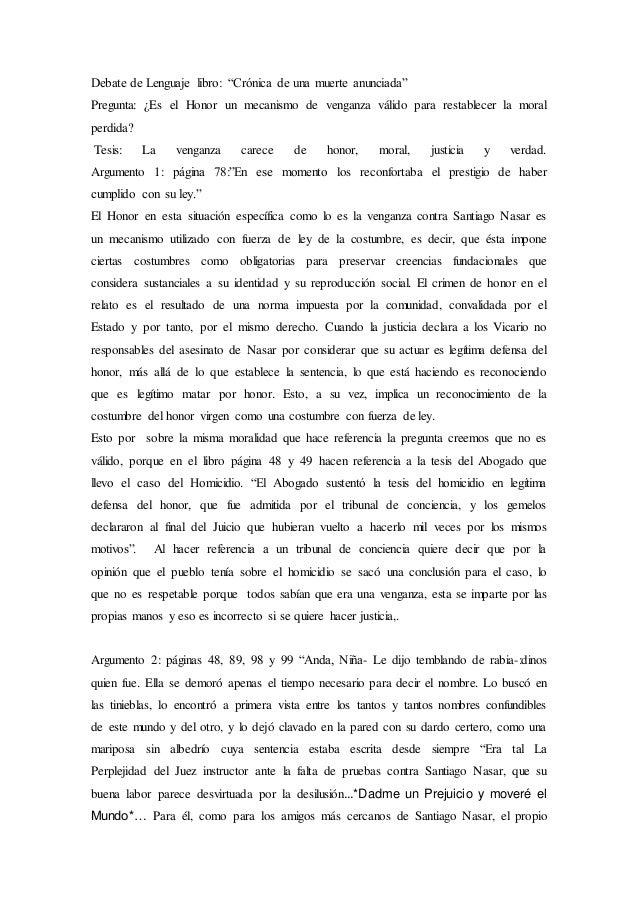 ensayo del libro cronica de una muerte anunciada pdf
