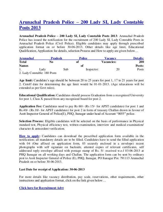 Arunachal Pradesh Police – 200 Lady SI, Lady ConstablePosts 2013Arunachal Pradesh Police – 200 Lady SI, Lady Constable Pos...