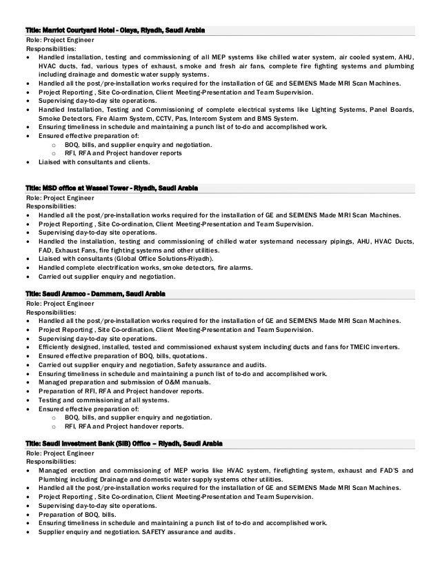 6 - Hvac Commissioning Engineer Sample Resume