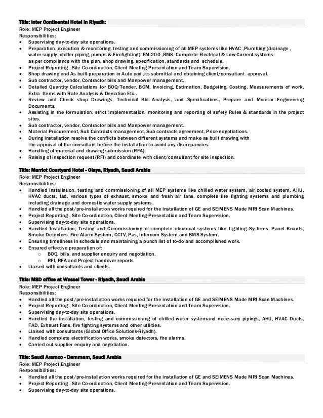 Project Engineer Mechanical Job Description Kubreforic