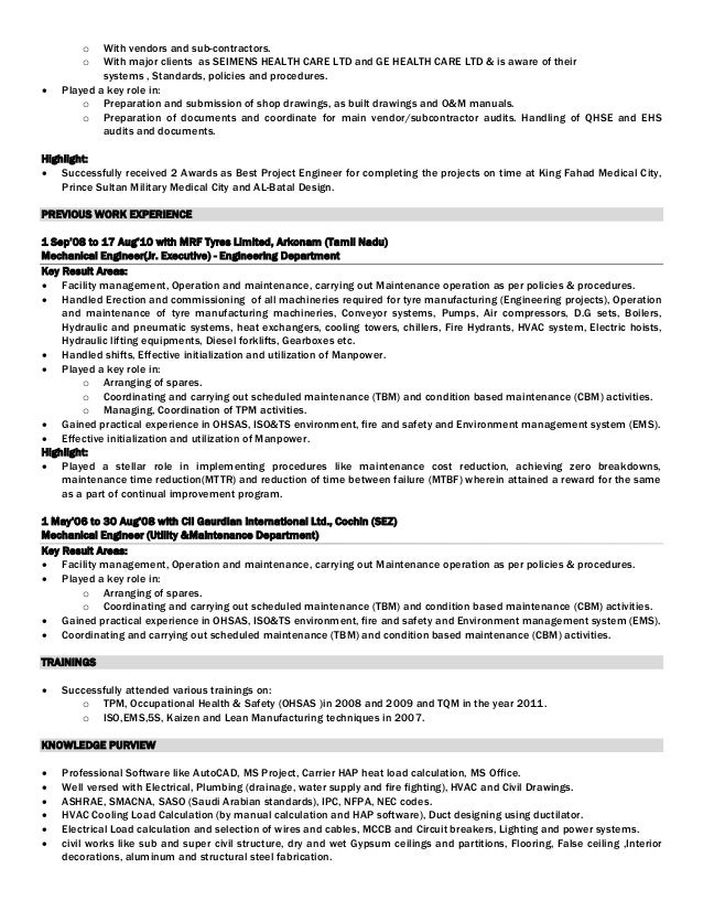 Cleaning subcontractor resume