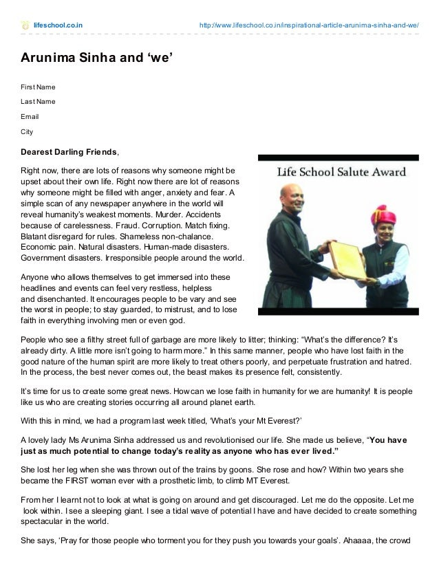 lifeschool.co.in http://www.lifeschool.co.in/inspirational-article-arunima-sinha-and-we/ Arunima Sinha and 'we' First Name...