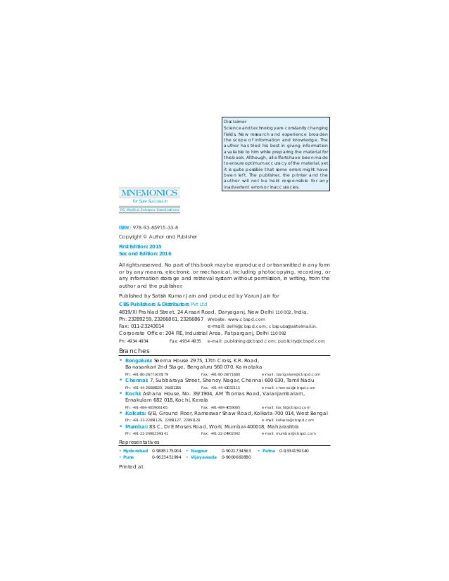 Surgery Mnemonics Pdf