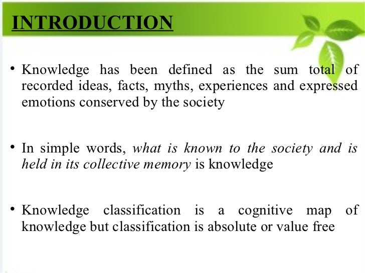 MAPPING OF KNOWLEDGE IN COLON CLASSIFICATION  Slide 2
