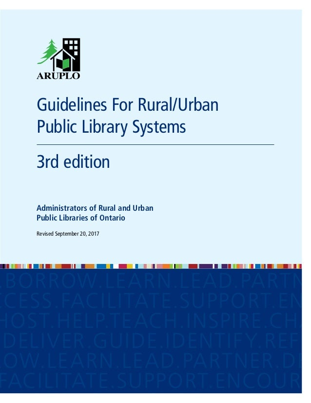 Guidelines For Rural/Urban Public Library Systems 3rd edition Administrators of Rural and Urban Public Libraries of Onta...