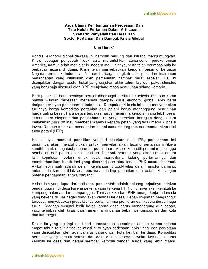 umihanik.blogspot.com                       Arus Utama Pembangunan Perdesaan Dan                       Tata Kelola Pertan...