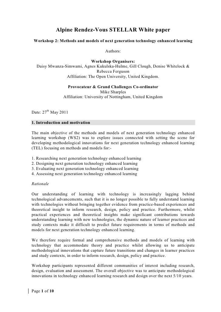 Alpine Rendez-Vous STELLAR White paper Workshop 2: Methods and models of next generation technology enhanced learning     ...