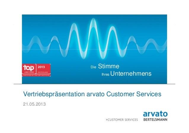 1 | arvato | 21.05.2013 | Vertriebspräsentation arvato Customer ServicesDie StimmeIhres UnternehmensVertriebspräsentation ...