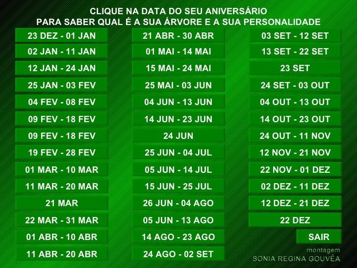 CLIQUE NA DATA DO SEU ANIVERSÁRIO PARA SABER QUAL É A SUA ÁRVORE E A SUA PERSONALIDADE 23 DEZ - 01 JAN 02 JAN - 11 JAN 12 ...