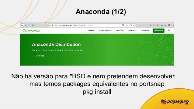 Anaconda (2/2) Não há versão para *BSD e nem pretendem desenvolver… mas temos packages equivalentes no portsnap pkg install