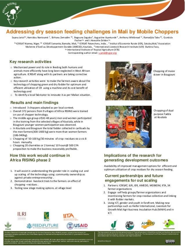 Addressing dry season feeding challenges in Mali by Mobile Choppers Sapna Jarial1a, Hamidou Nantoumé 2, Birhanu Zemadim 1b...