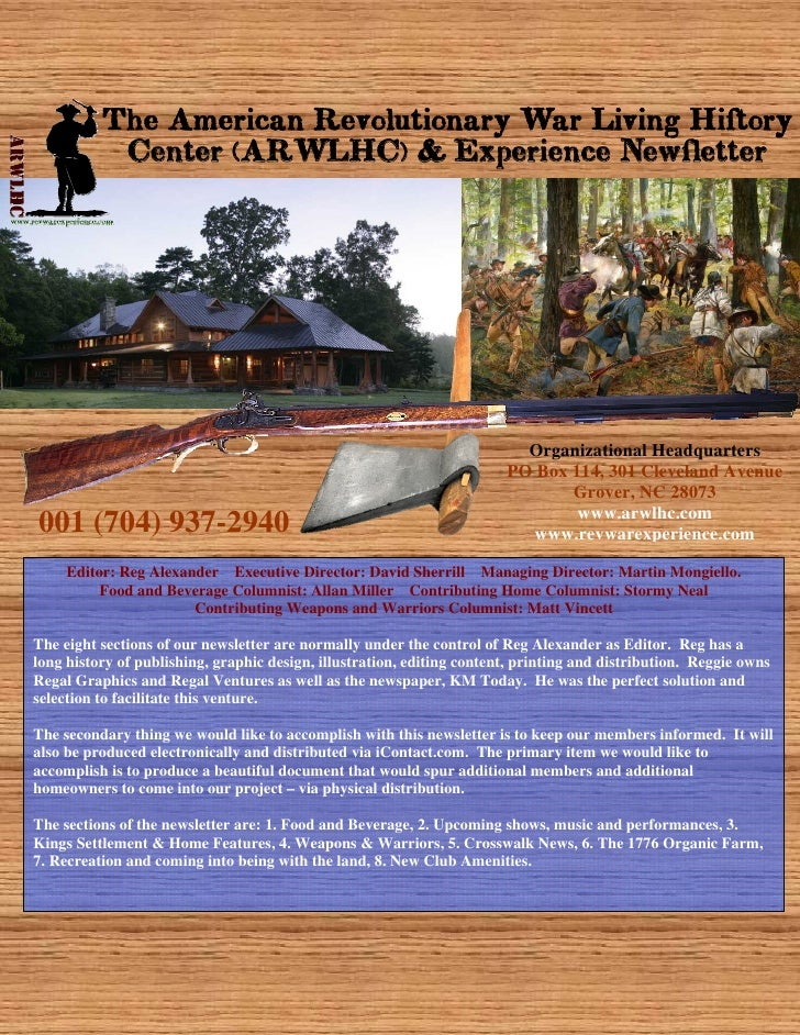 The American Revolutionary War Living History            Center (ARWLHC) & Experience Newsletter                          ...