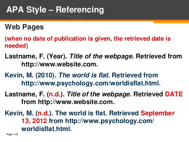apa reference style for websites