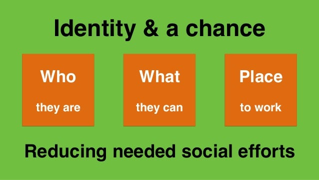 Identity & a chance Who they are What they can Place to work Reducing needed social efforts