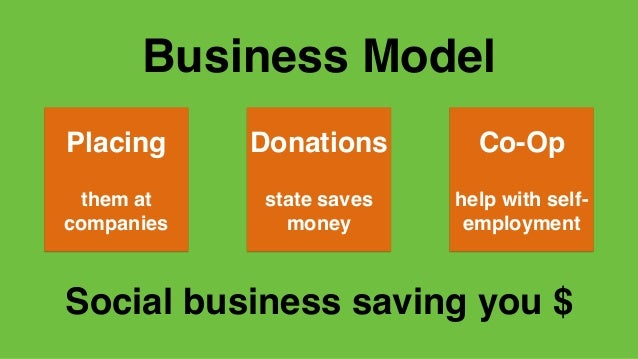 Business Model Placing them at companies Donations state saves money Co-Op help with self- employment Social business savi...