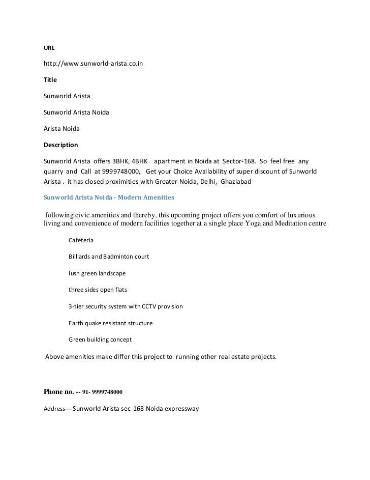 URLhttp://www.sunworld-arista.co.inTitleSunworld AristaSunworld Arista NoidaArista NoidaDescriptionSunworld Arista offers ...