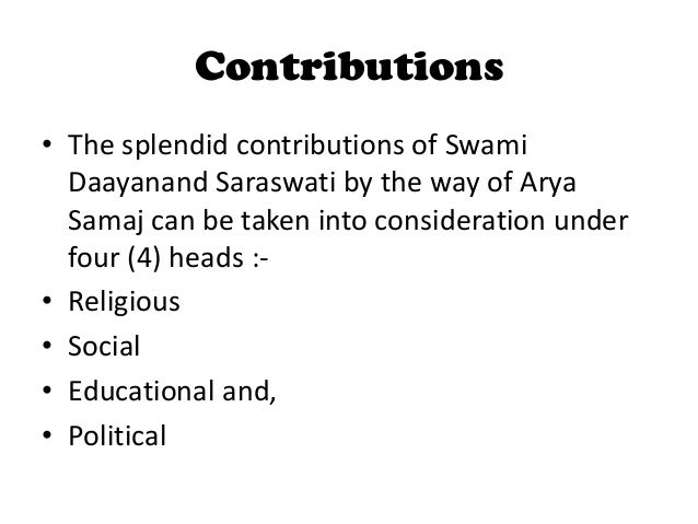 contribution of arya samaj