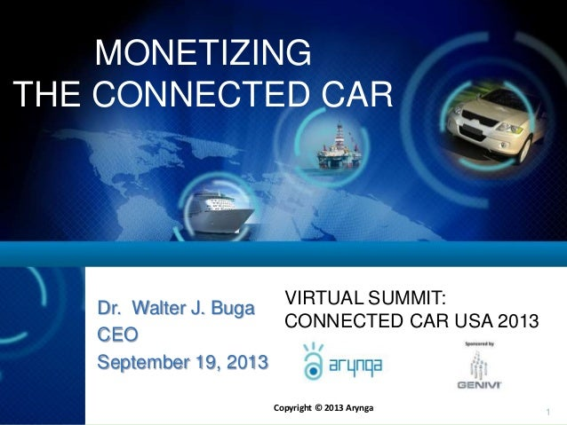 Copyright © 2013 Arynga 1 MONETIZING THE CONNECTED CAR Dr. Walter J. Buga CEO September 19, 2013 VIRTUAL SUMMIT: CONNECTED...