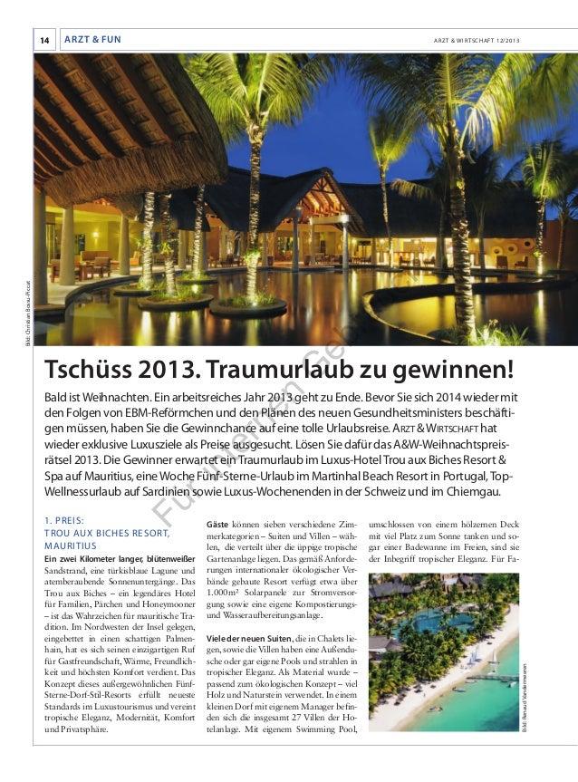 Arzt & Fun  Arzt & Wirtschaft 12/2013  eb  ra  Bild: Christian Bossu-Piccat  uc h  14  G  Tschüss 2013. Traumurlaub zu gew...