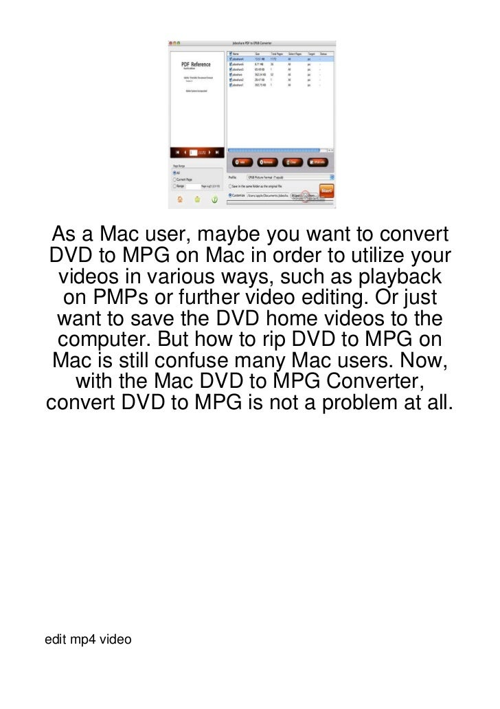 As a Mac user, maybe you want to convertDVD to MPG on Mac in order to utilize your videos in various ways, such as playbac...