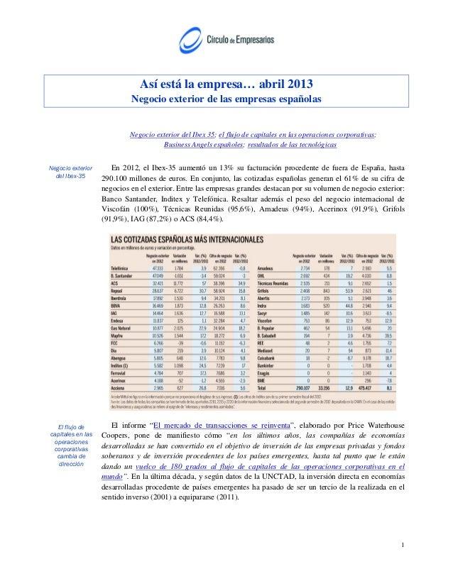 Así está la empresa… abril 2013Negocio exterior de las empresas españolasNegocio exterior del Ibex 35; el flujo de capital...