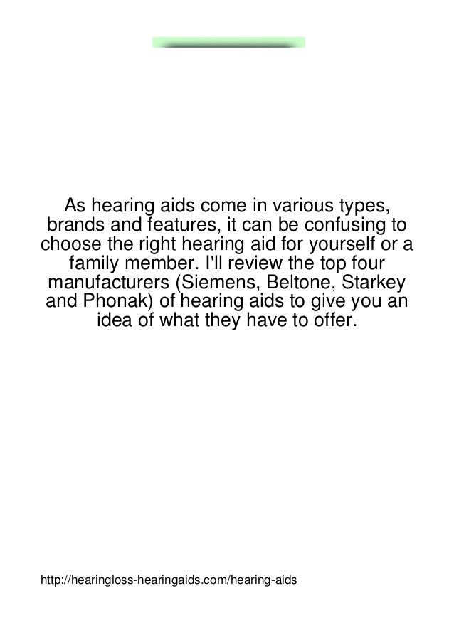 As hearing aids come in various types, brands and features, it can be confusing tochoose the right hearing aid for yoursel...