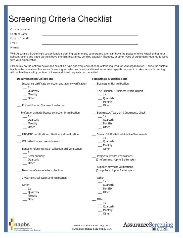 Screening Criteria ChecklistCompany Name:                Contact Name:                Date of Checklist:           Email: ...