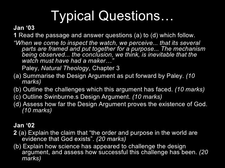 the teleological argument as put forward Sample lesson plan:  swinburne and the criticism of dawkins teleological argument  the arguments put forward by copleston in the 1948 radio debate with.