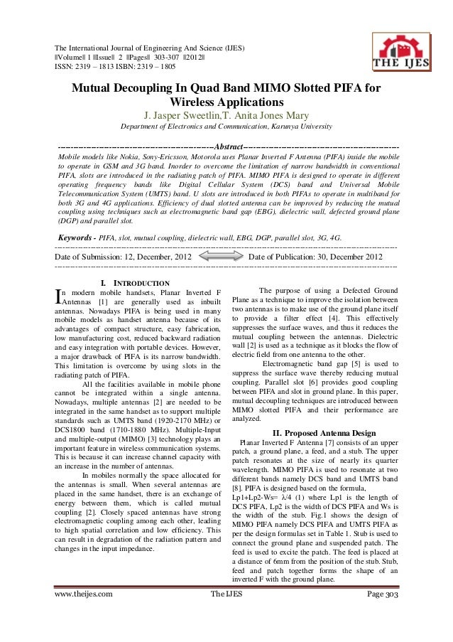 The International Journal of Engineering And Science (IJES)||Volume|| 1 ||Issue|| 2 ||Pages|| 303-307 ||2012||ISSN: 2319 –...