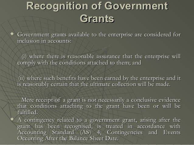 As 12 accounting for government grants(1)