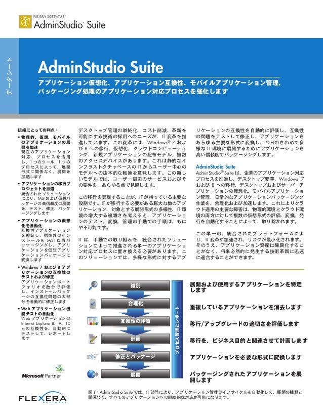 データシート AdminStudio Suite アプリケーション仮想化、アプリケーション互換性、モバイルアプリケーション管理、 パッケージング処理のアプリケーション対応プロセスを強化します 組織にとっての利点: • 物理的、仮想、モバイル の...