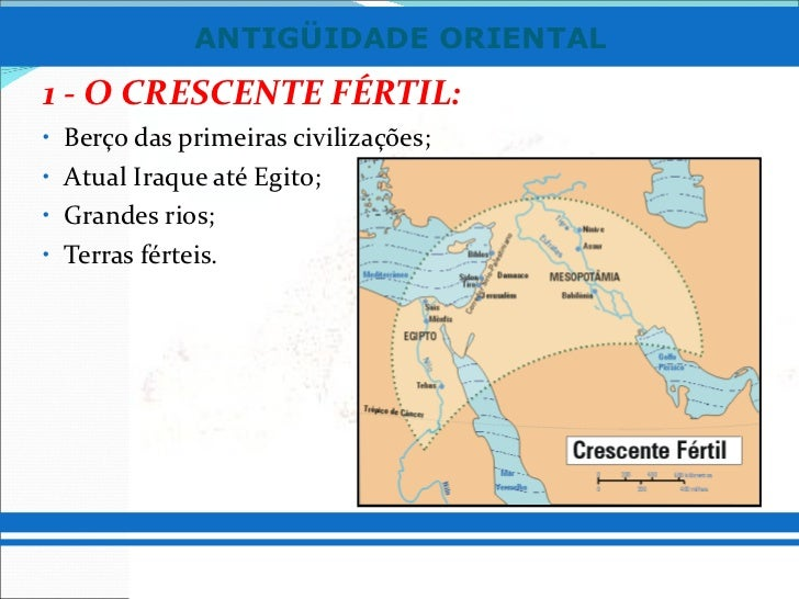 <ul><ul><li>1 - O CRESCENTE FÉRTIL: </li></ul></ul><ul><ul><li>Berço das primeiras civilizações; </li></ul></ul><ul><ul><l...