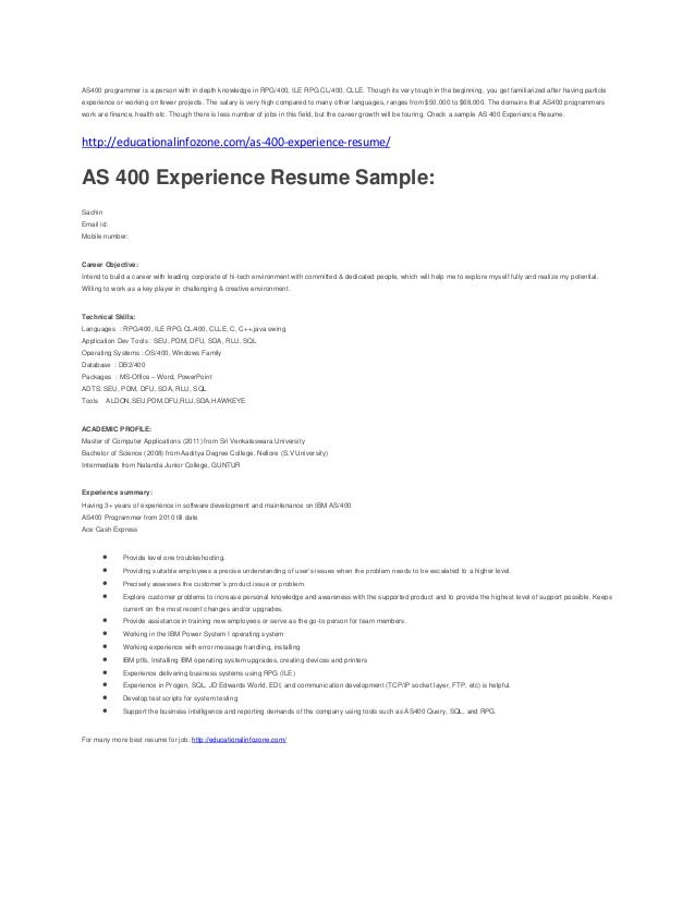 as 400 resume sle for experienced
