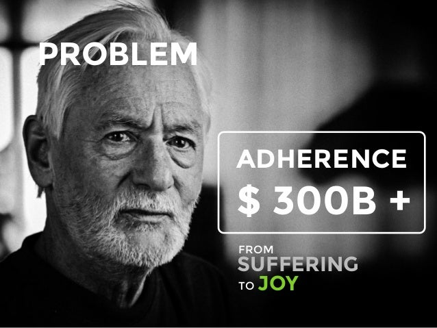 PROBLEM ADHERENCE $ 300B + SUFFERING FROM TO JOY