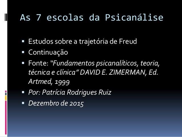 """As 7 escolas da Psicanálise  Estudos sobre a trajetória de Freud  Continuação  Fonte: """"Fundamentos psicanalíticos, teor..."""