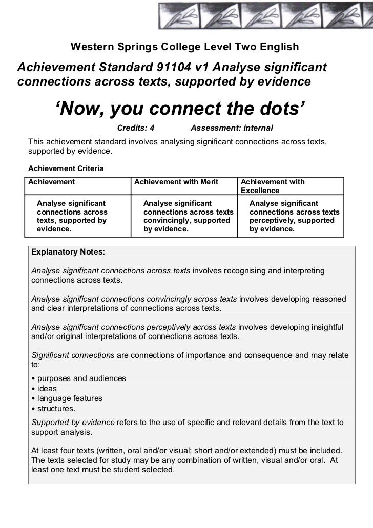 Western Springs College Level Two EnglishAchievement Standard 91104 v1 Analyse significantconnections across texts, suppor...