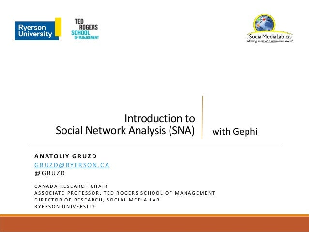 Introduction to Social Network Analysis (SNA) ANATOLIY GRUZD GRUZD@RYERSON.CA @GRUZD C A N A D A R E S E A R C H C H A I R...