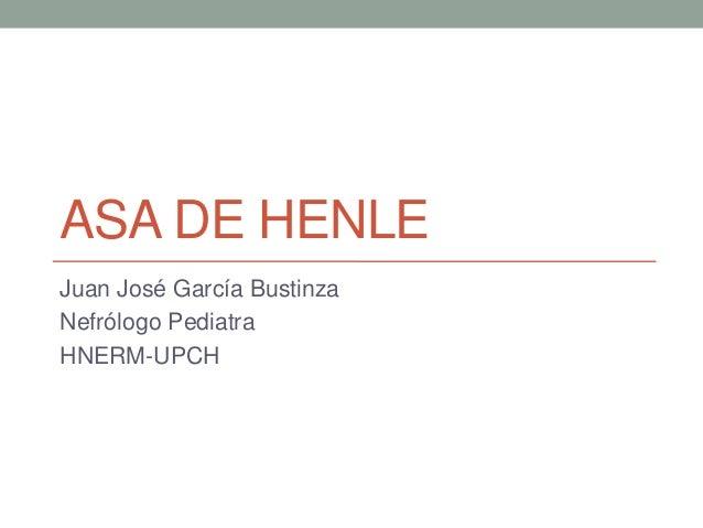 ASA DE HENLE Juan José García Bustinza Nefrólogo Pediatra HNERM-UPCH