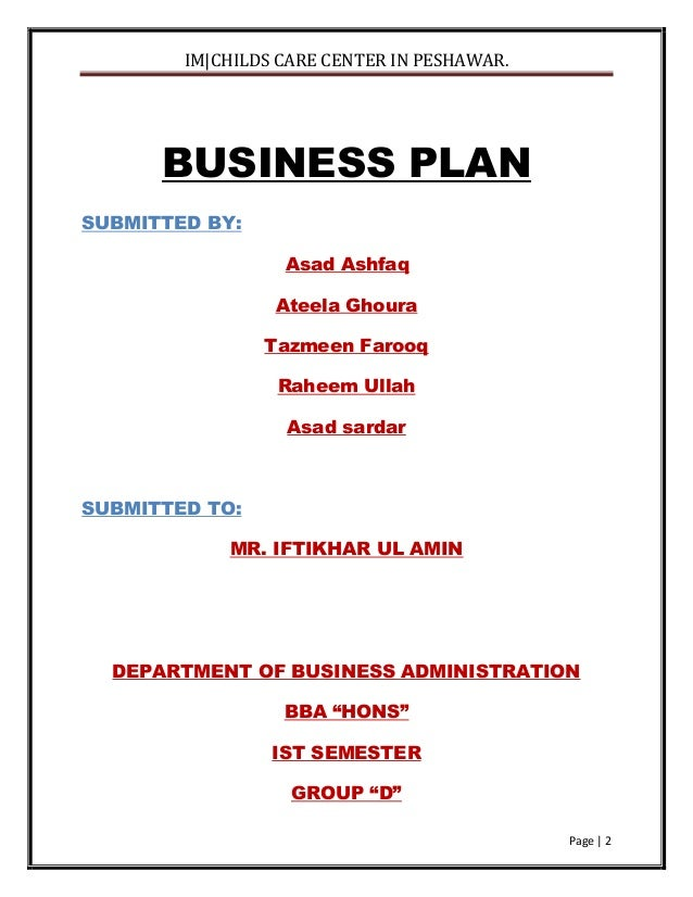 "Business Plan For "" A Childcare Center In Peshawar"""