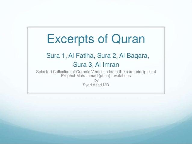 Excerpts of Quran Sura 1, Al Fatiha, Sura 2, Al Baqara, Sura 3, Al Imran Selected Collection of Quranic Verses to learn th...
